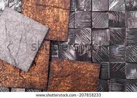 Decorative tiles with imitation antique - stock photo