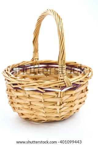 Decorative wicker basket wicker white background - stock photo
