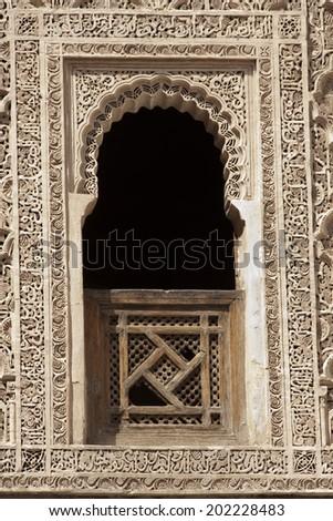 Decorative window in old Marrakesh building Morocco  - stock photo