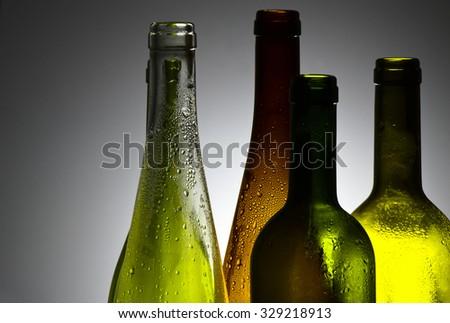 Decorative wine bottles - stock photo
