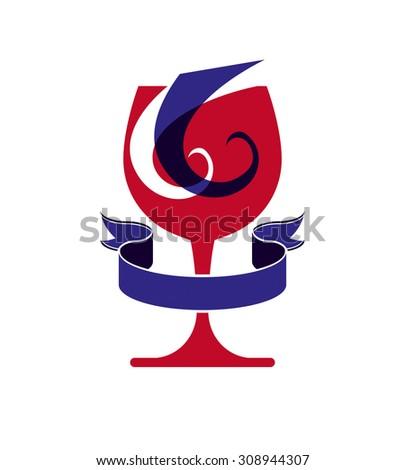 Decorative winery emblem, stylized goblet with wavy ribbon. Elegant artistic wineglass illustration, graphic design elements. - stock photo