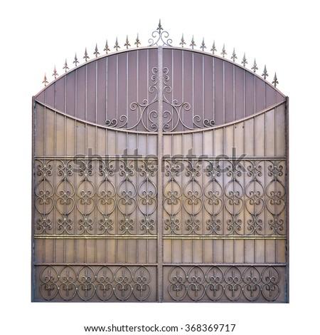 Decorative wrought iron gates. Isolated over white background. - stock photo