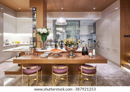 decoraton and furniture in modern dining room - stock photo