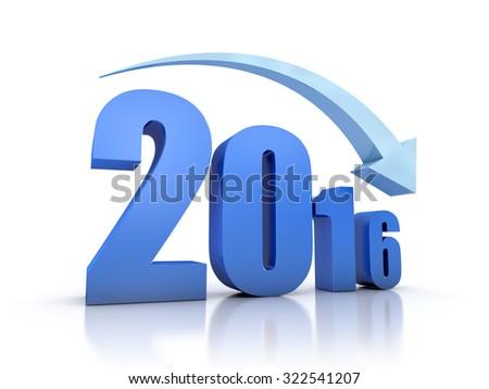 Decrease 2016 With Arrow - stock photo