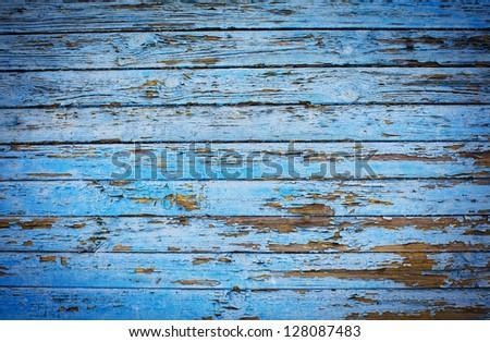 decrepit blue  Old Wood Background - stock photo