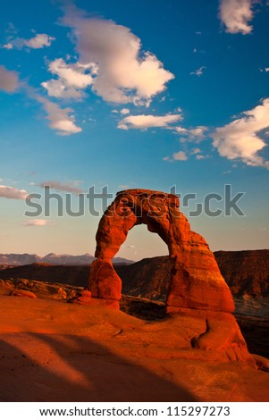 Dedicated Arch under Sunset in Arches National Park, Utah - stock photo