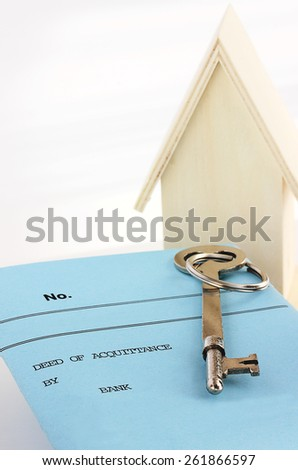 Deed from bank releasing borrower from mortgage - stock photo