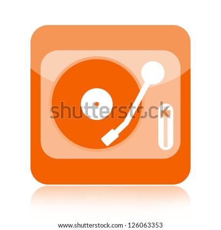 Deejay mixer vinyl player icon - stock photo