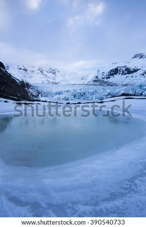 Deep blue colour of Svinafell Glacier in Skaftafell National Park, Iceland - stock photo