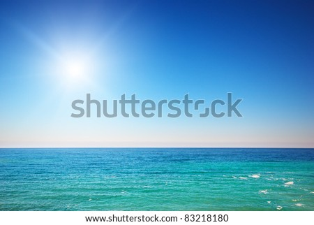 Deep blue sea at day. Nature composition - stock photo