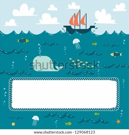 Deep blue sea decorative frame. Raster copy of vector file - stock photo