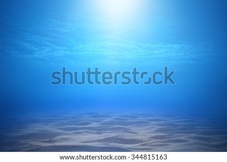 Deep blue sea or ocean underwater background. - stock photo