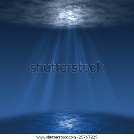 deep blue sea, or underwater scene with sun rays - stock photo