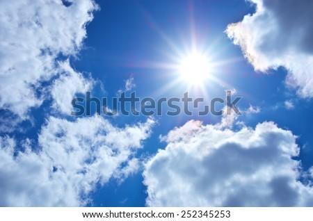 Deep blue sky at sunny day. - stock photo