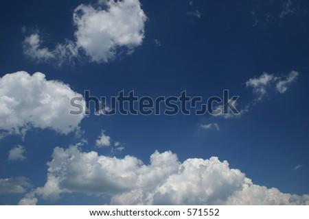 Deep Blue Sky W/ Clouds - stock photo