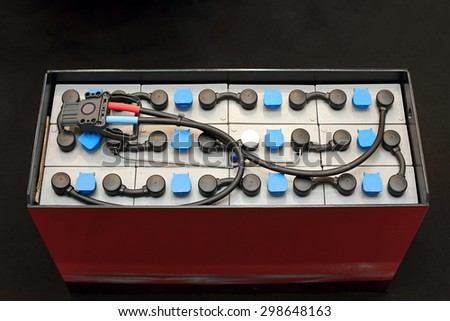Deep Cycle Battery Module for Commercial Forklift Transportation - stock photo