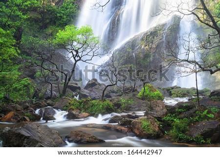 Deep forest waterfall at Klonglarn waterfall National Park Kampangpetch, Thailand - stock photo
