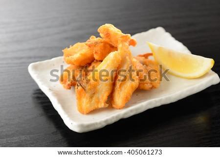 deep fried fugu, japanese food - stock photo