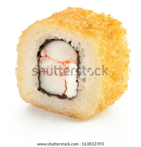 Deep fried Japanese roll with crab, shrimp, cream cheese and crispy breading - isolated over white - with shadow - stock photo