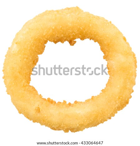 Deep fried onion ring on isolated background. - stock photo