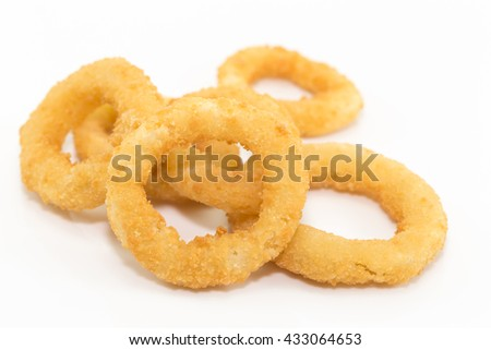 Deep fried onion ring on white background with copy space. - stock photo