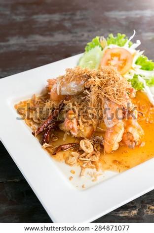 Deep fried shrimp platter with tamarind sauce - stock photo