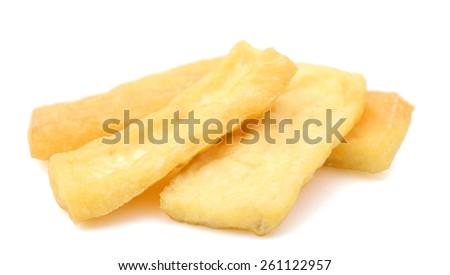 deep fried tofu on white background  - stock photo