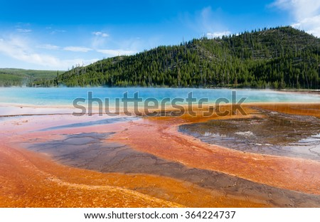 Deep green blue geyser pool in yellowstone national park - stock photo