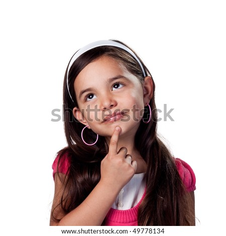 Deep in thought with finger on chin - stock photo