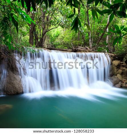 Deep jungle Huay Mae Kamin Waterfall National Park Kanjanaburi Thailand - stock photo