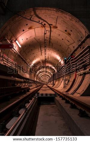Deep metro tunnel under construction - stock photo