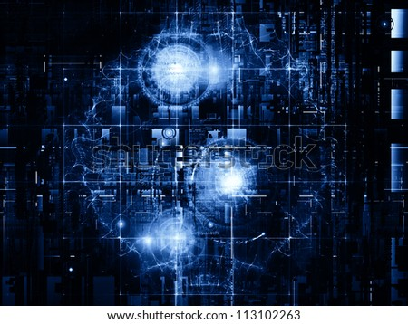 Deep Networking series. Artistic background made of industrial grunge texture, numbers and dark gradients for use with projects on computing, industrial design and modern technology - stock photo