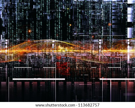Deep Networking series. Interplay of industrial grunge texture, numbers and dark gradients on the subject of computing, industrial design and modern technology - stock photo