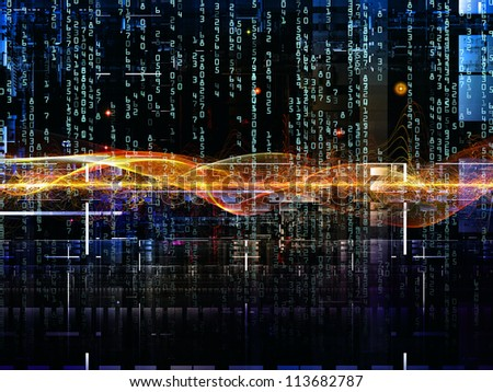 Deep Networking series. Visually attractive backdrop made of industrial grunge texture, numbers and dark gradients suitable as element for layouts on computing, industrial design and modern technology - stock photo