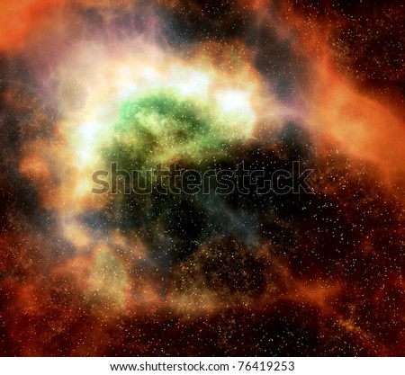 deep outer space gas cloud nebula galaxy and stars - stock photo