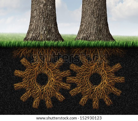 Deep Partnership business concept and financial cooperation symbol as two growing trees with underground roots shaped as gears and cog wheels connected together in a working relationship network. - stock photo