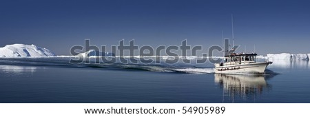 Deep pure waters, ices and icebergs of Greenland 1 - stock photo