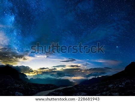 Deep sky in mountains - stock photo