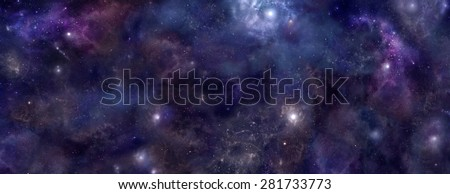 Deep Space background website banner head - Wide panel of outer space with many different stars, planets and cloud formations - stock photo