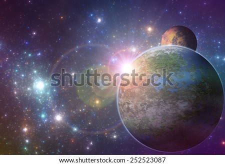 Deep space exoplanet illustration, sunrise over  fantasy alien planet - stock photo