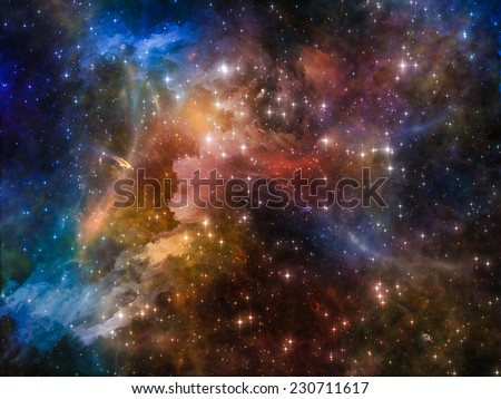 Deep Space series. Backdrop composed of nebula, stars and colors and suitable for use in the projects on astronomy, science, space and religion - stock photo