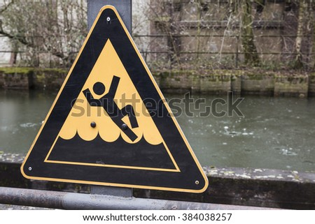 deep water sign - stock photo