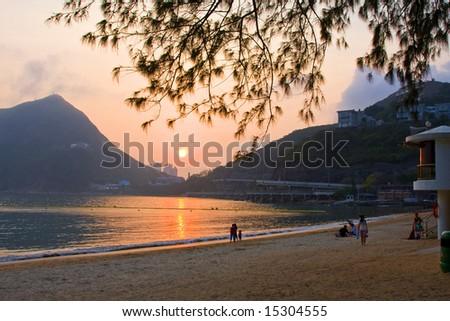 Deepwater Bay hong kong at sunset - stock photo