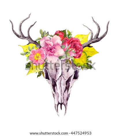 Deer animal skull with autumn leaves and flowers. Watercolor in vintage boho style - stock photo