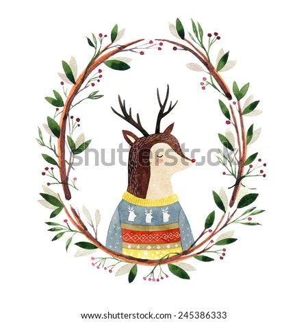 deer in a floral frame - watercolor illustration. Hipster animal - stock photo