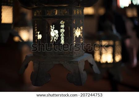 Deer Lantern at Kasuga-taisha - stock photo