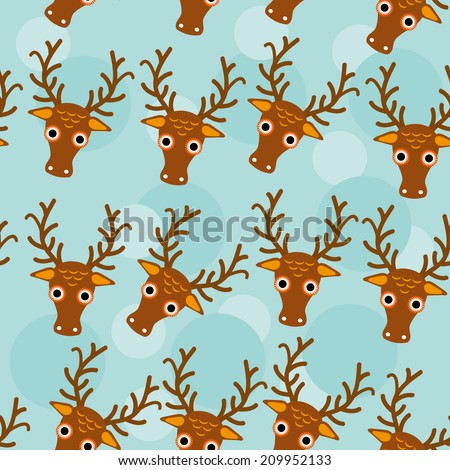 Deer Seamless pattern with funny cute animal face on a blue background.  - stock photo