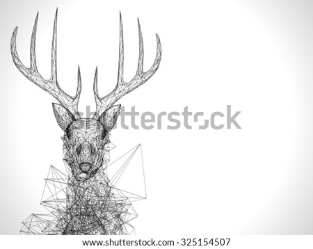 Deer stylized low poly wire construction concept concepts connection - stock photo