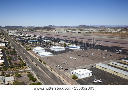 Deer Valley Airport from a helicopter vantage point - stock photo