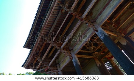 Deers in  Todaiji Temple ,Nara,japan ( Eastern great Temple ) - The world's largest wooden building and world heritage site. - stock photo
